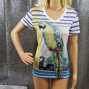 Studded Island Parrot Vacatino Tee Shirt